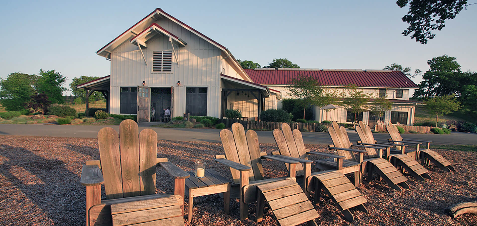 Adirondack chairs outside of Copain tasting room
